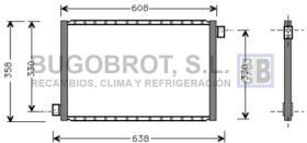 Condensador 60-UV5022 - CONDENSADOR UNIVERSAL FLUJO PARALELO 608 X 358 X 18 MM.